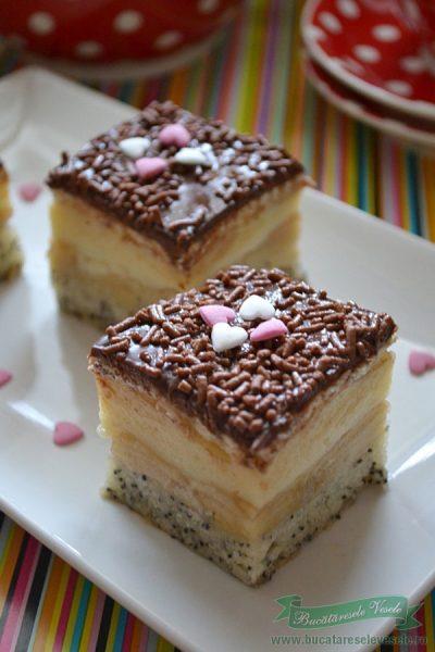 Prajitura cu mere mac si crema de vanilie