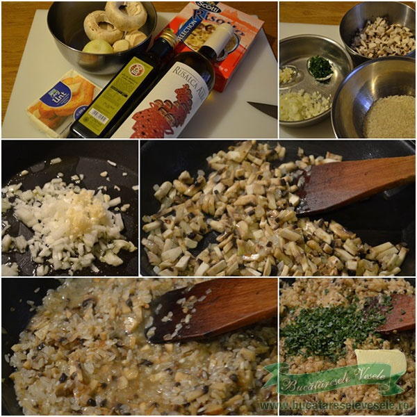 preparare-risotto-Medalioane de vita cu sos de gorgonzola