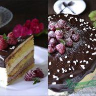 Tort fara gluten cu vanilie, ciocolata si zmeura