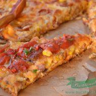Pizza fara blat cu piept de pui si sunca