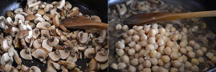 mancare de naut cu ciuperci si mamaliguta