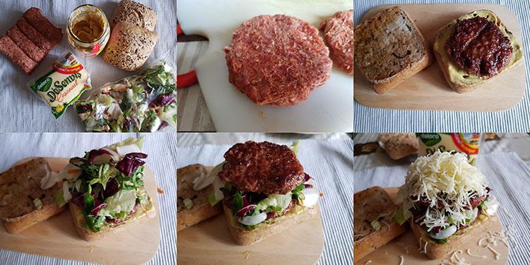 Sendvisuri cu mititei, salata si cascaval