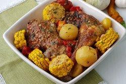 Friptura de pui cu porumb si legume