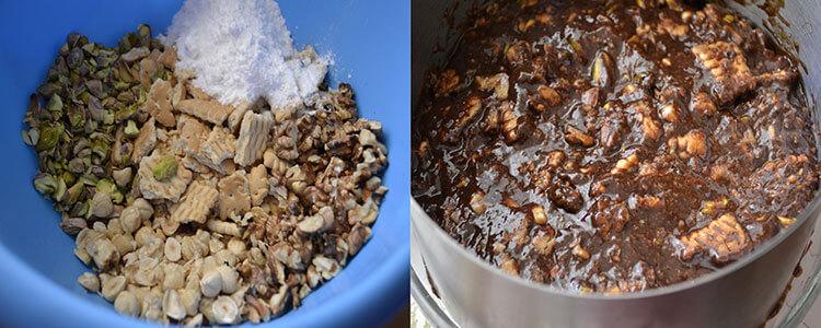 tort de biscuiti cu fructe si caramel