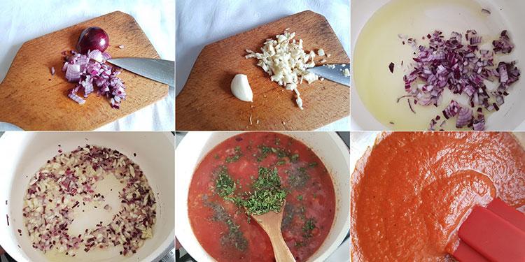 Tortellini cu sos de rosii si risotto pane