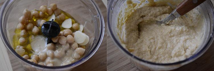 Sandvis cu humus si porumb dulce