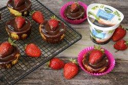 mini cheesecake cu ciocolata si capsune