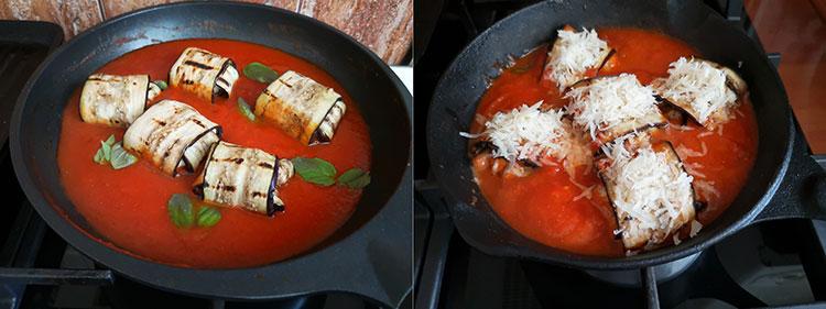 Rulouri de vinete în sos de roșii